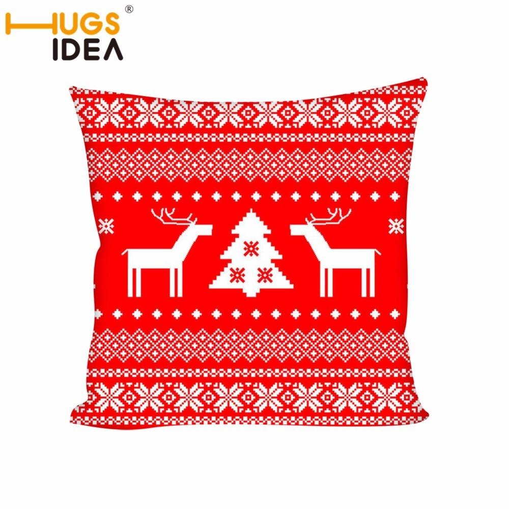 HUGSIDEA 3D Cushion Christmas Pillow Insert Square Throw Pillow Cushion Sofa Home Decor XMAS Elk Print Car Back Pillow 45x45cm