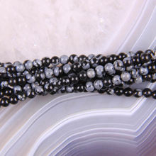 "Free Shipping Fashion Jewelry Round 2MM Natural Stone Black Snowflake Obsidian Loose Beads Strand 16"" A258(China)"