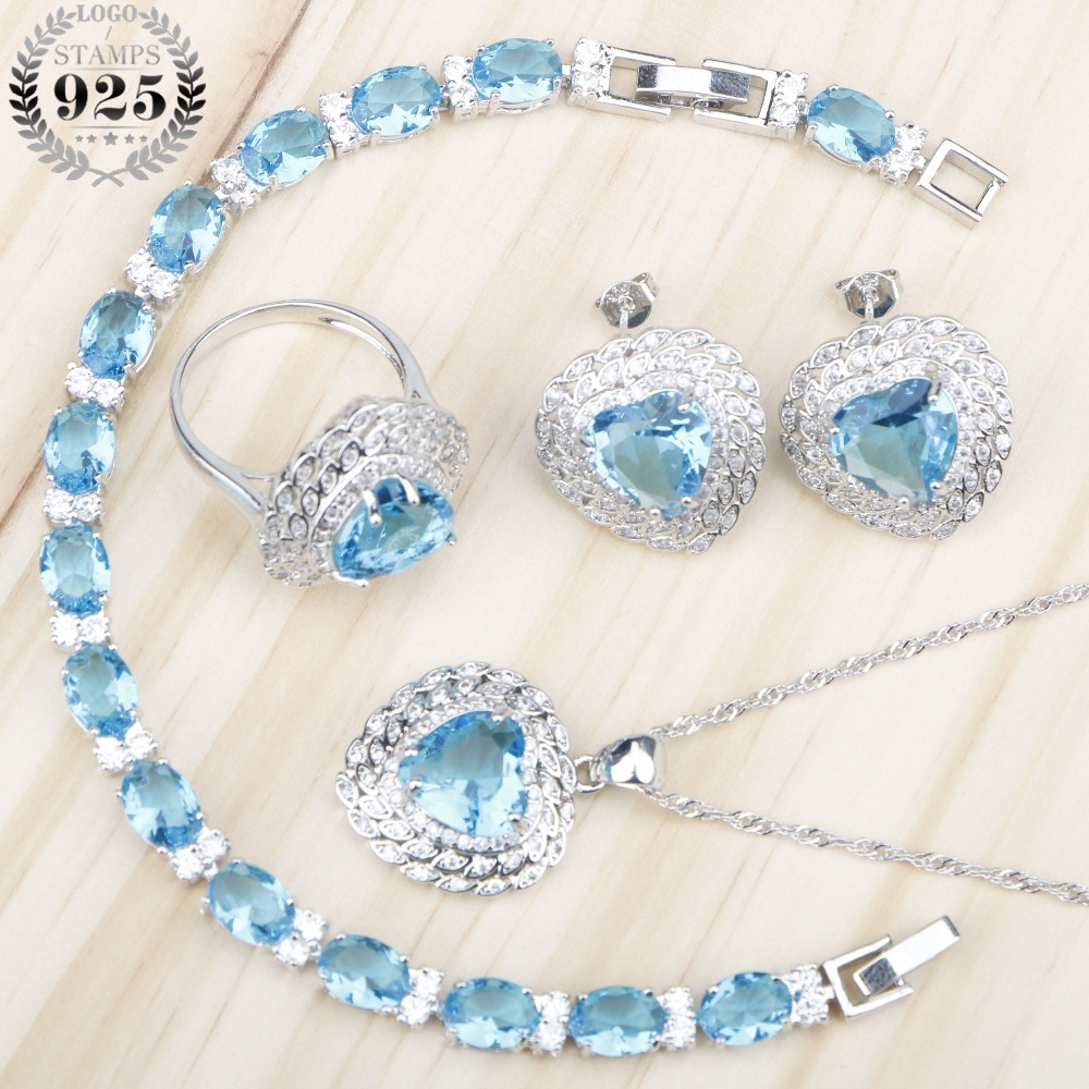 Blue Zircon Christmas Silver 925 Wedding Jewelry Sets Necklace&Pendant Bracelet Earrings Rings Set With Stones Jewelery Gift Box