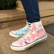 Wen New Anime Hand Painted Shoes Design Custom Nanatsu no Taizai High Top Women Men's Canvas Sneakers Birthday Gifts
