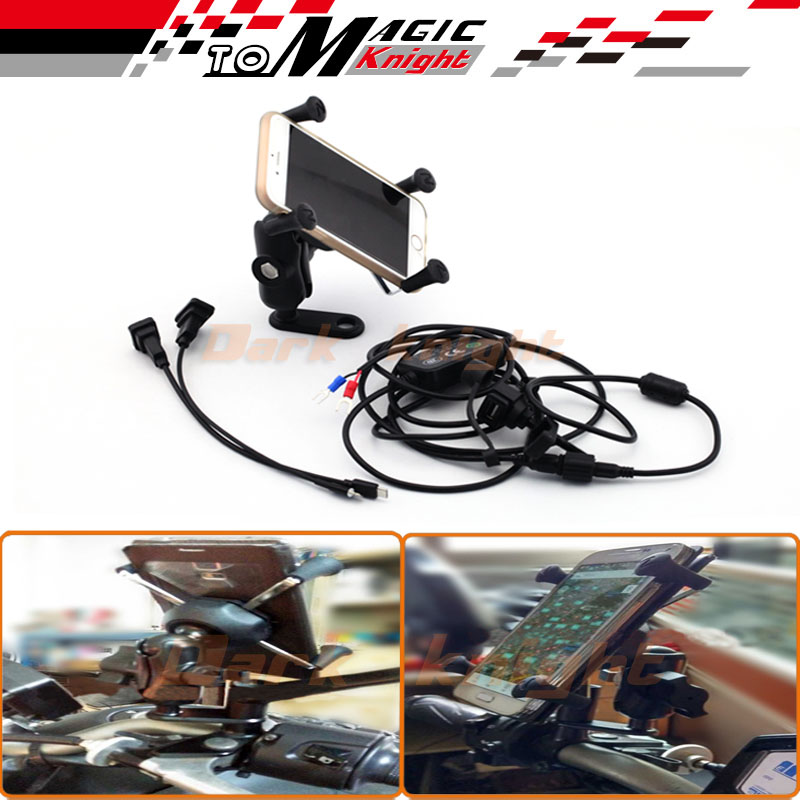 ФОТО For KAWASAKI Z125 Z250 Z300 Z750 Z800 Z1000 Motorcycle Navigation Frame Mobile Phone Mount Bracket with USB charger