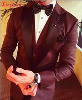 Linyixun 2017 Latest Coat Pant Design Burgundy Groom Men Suits Slim Fit 3 Piece Tuxedo Custom Blazer Prom Suit Masculino