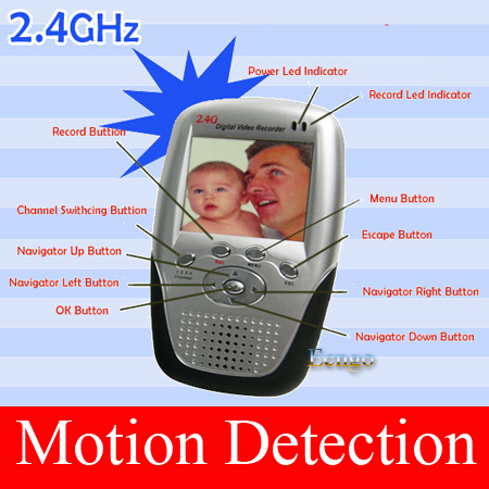 2.5LCD Screen DVR Baby Monitor SD Card Slot and Motion Detection 2.4G Wireless palm monitor receiver and recorder
