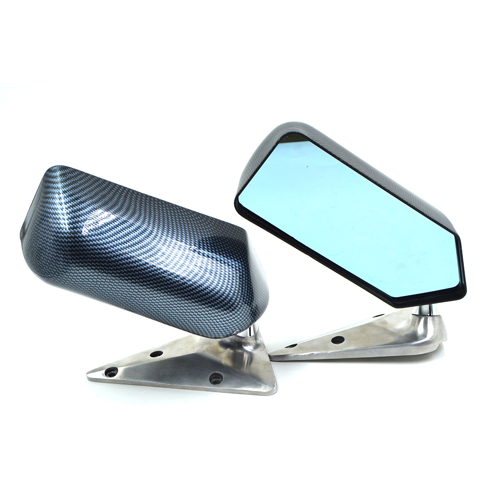 Universal F1 racing car drift carbon fiber Looks ABS side rearview mirror with Blue Mirror Surface