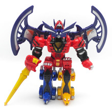 Kids Birthday Gifts 4 In 1 Megazord Robot Assemble Transformation Toys Dinozords Ranger Action Figure цены