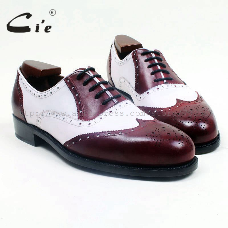 cie Round Toe Full Brogues Lace-Up Mix Colors Wine/White Handmade Genuine Leather Bottom Outsole Breathable Men's Shoe OX518 cie round toe wine black mixed colors patches shoe100