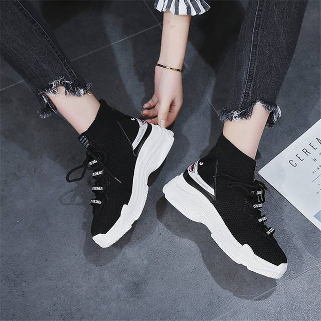 ca2a4a28f2ddd Bape Shark Women's Sneakers Knit Upper Breathable Sport Chunky Socks Shoes  Ladies High And Low Top Hip Hop Style Shoes Womn-in Women's Vulcanize Shoes  from ...