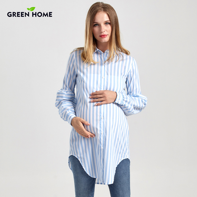 63bfb7c0e38 Green Home Maternity Long Blouse Pregnancy New Nursing Tops Soft Thicken  Maternity Striped Comfortable Shirts Women Clothing