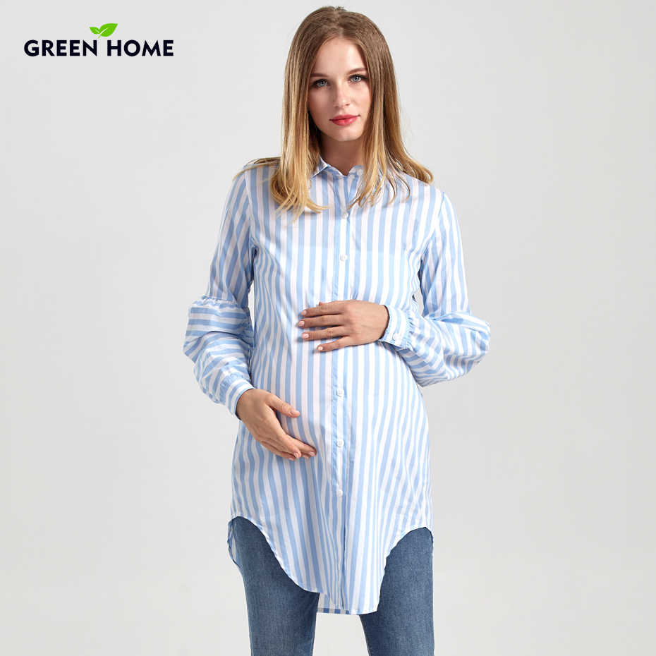 7c527e8d6ef40 Detail Feedback Questions about Green Home Maternity Long Blouse ...