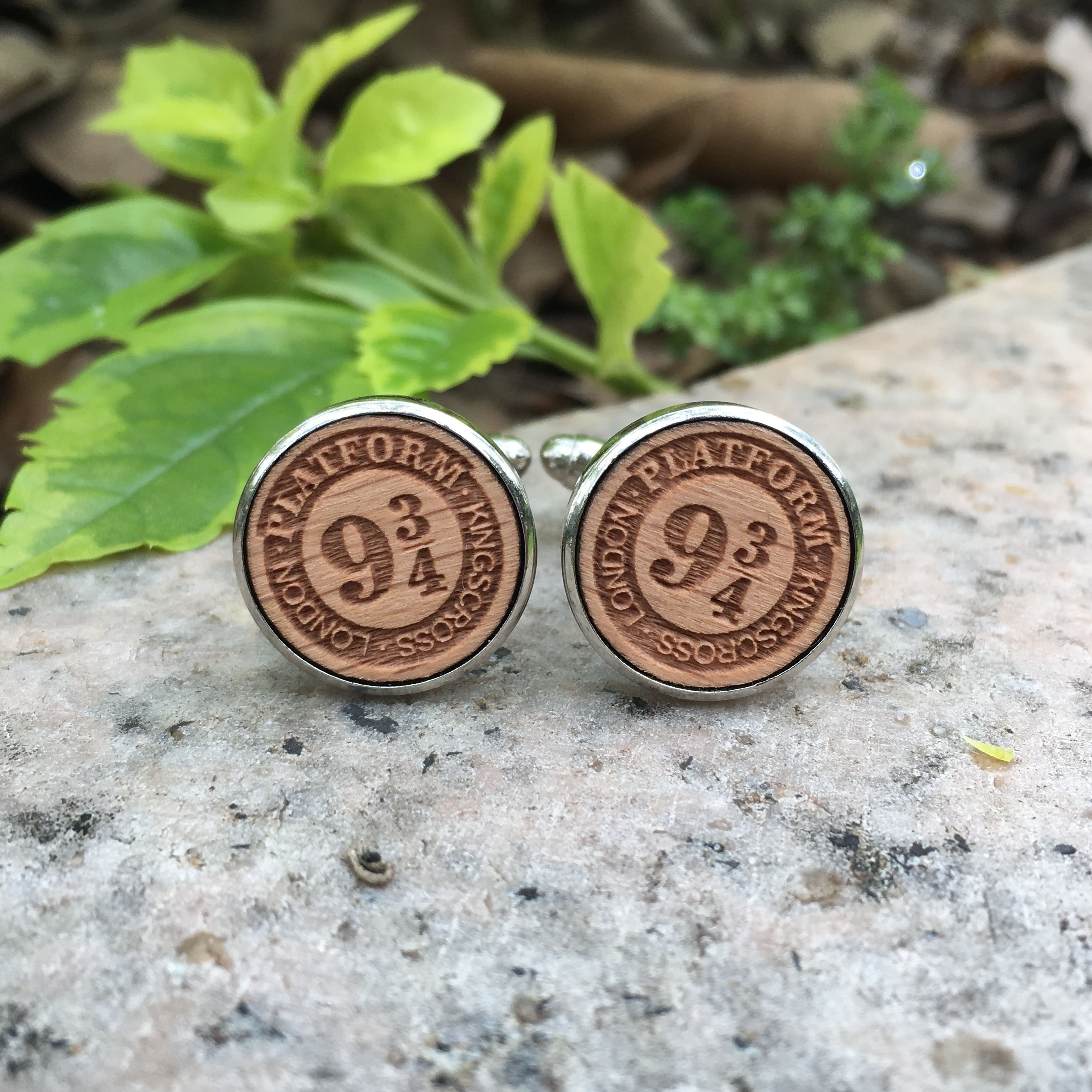 Round Potter Cufflinks Engraved Wooden Jewelry Platform 9 3/4 Deathly Hallows Wooden Cufflink x 1 Pair
