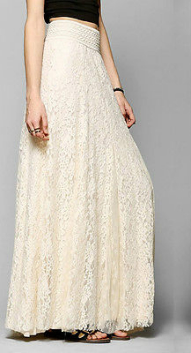 Womens Lace Layered Hitched Maxi Skirt A Line Boho Long