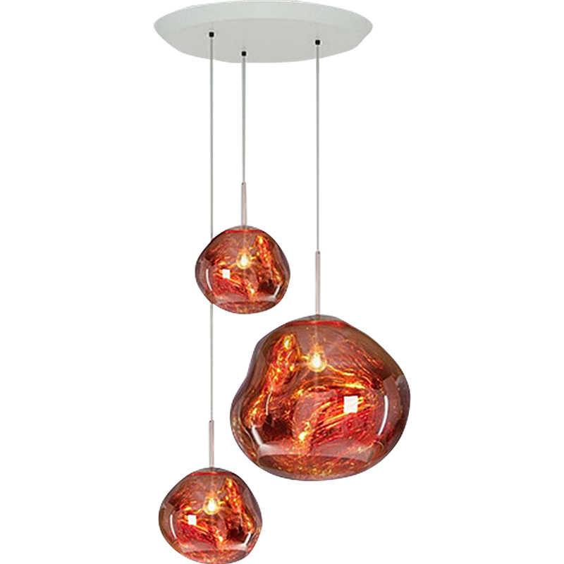 Стеклянный одноголовый серебристый/желтый/красный светодиодный светильник для украшения бара лава лампа для спальни прикроватный светильник стеклянный Ресторан подвесной светильник