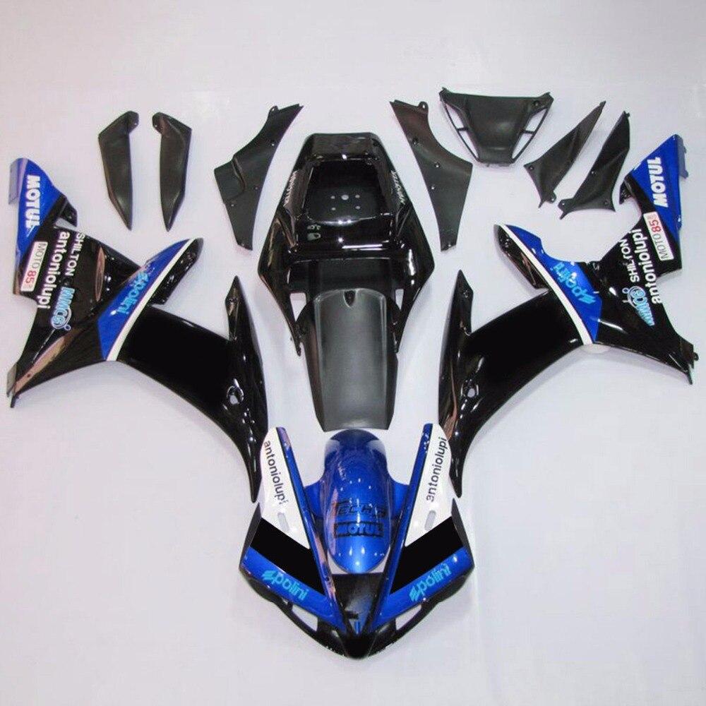 Черный синий ABS пластиковый обтекатель кузова Набор для YAMAHA YZF Р1 YZFR1 2002-2003 АБ