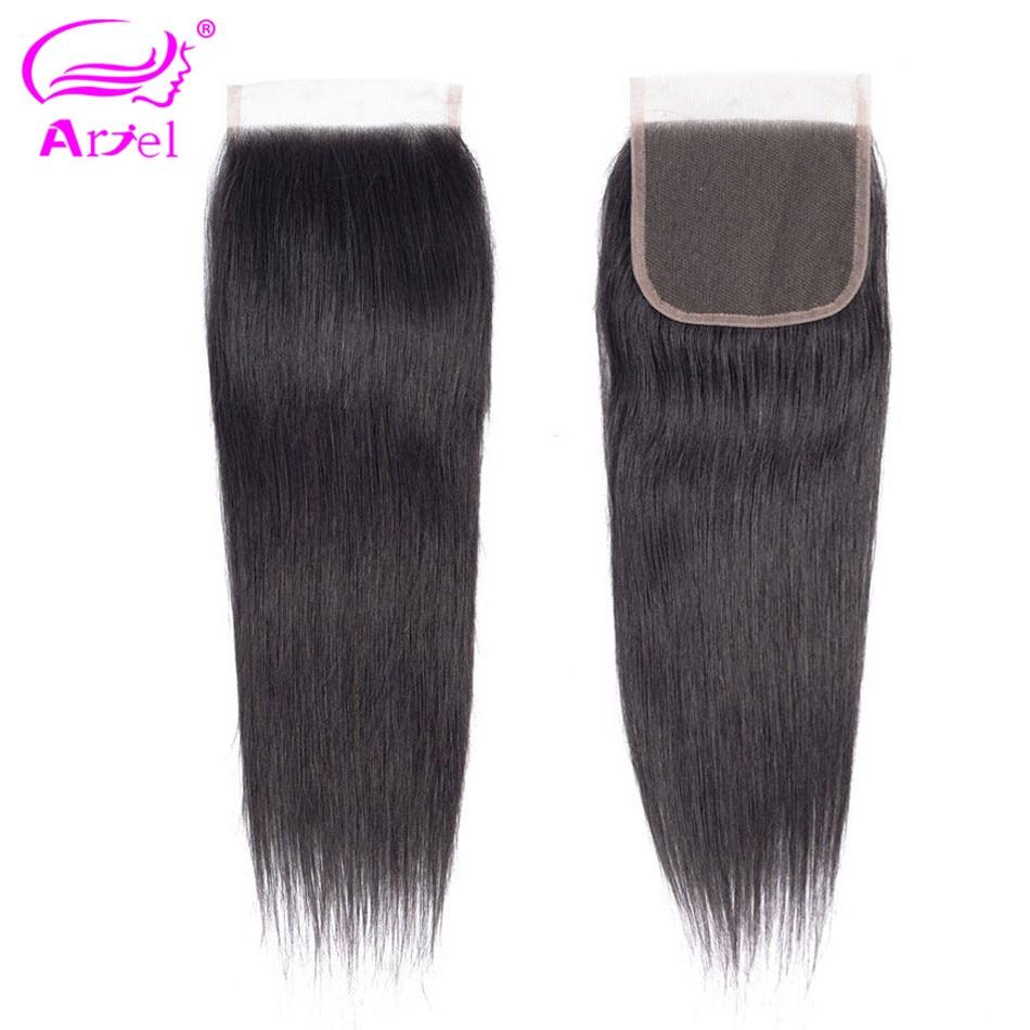 Ariel Straight Lace Closure 100% Human Hair Closure Malaysian 22 Inch Natural Color Remy Hair Weaving 4*4 Lace Closure Free Part