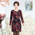 women long dress mother winter plus velvet thickening warm dress