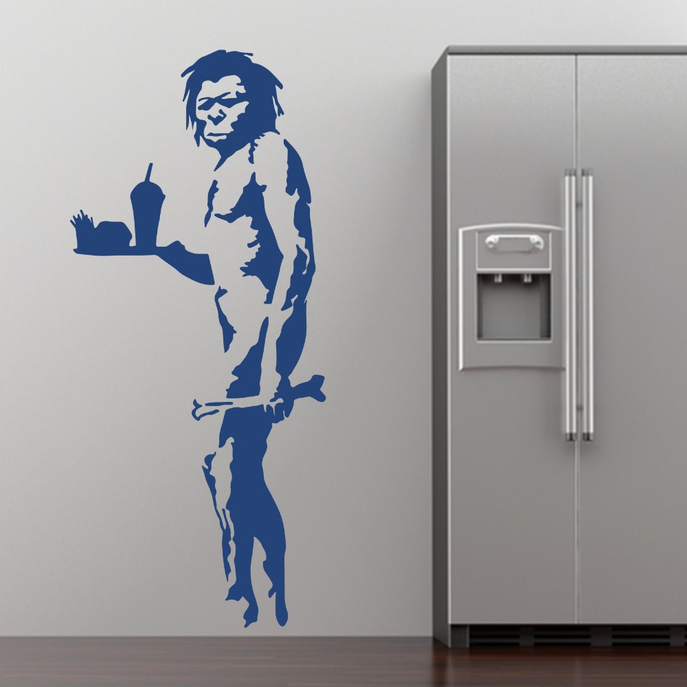 Grafitti wall sticker - Banksy Fast Food Caveman Graffiti Wall Art Stickers Decal Home Diy Decoration Wall Mural Removable Bedroomcompare Prices On Graffiti Furniture Online