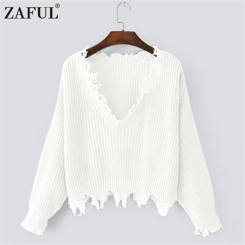 ZAFUL Autumn Women Sweaters One Size Ripped V Neck Loose Sweater ...