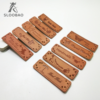 Hecho a mano DIY en relieve rectangular/letras 10 Uds. Etiquetas de cuero PU/etiquetas lavables para prendas/ropa/zapatos/bolsos accesorios de costura