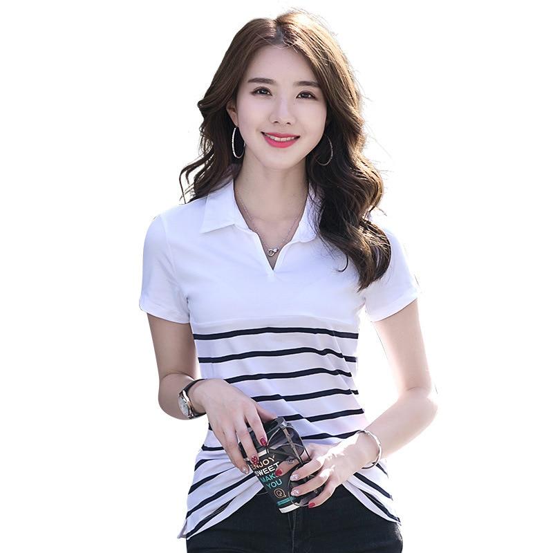 New Summer cotton Striped women tops short sleeves t shirt women tshirt top t-shirt femme Skinny woman tops tees camisetas