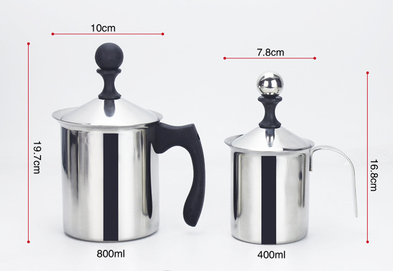 400/800ML Milk Frother Made with Stainless Steel in Double-Froth-Screen Design for Coffee and Milk 10