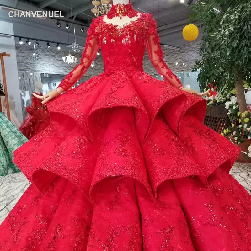 LS11290 ball gown   evening     dresses   high neck long sleeves lace up back rose wedding party   dresses   long train pleat multi-layer