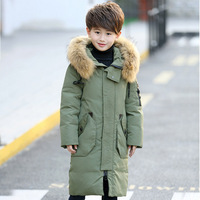 2017 boy thick black down jackets real fur hooded long coat kids big school 10 year boy for -30 degree Russia winter clothing