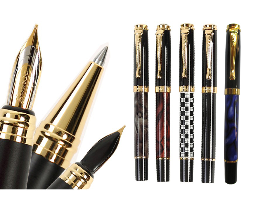 Gel RollerBall pen wholesale 24pcs/lot  JINHAO 500  office and school Writing pens or Calligraphy curve nib pen Free Shipping fountain pen curved nib or straight nib to choose hero 6055 office and school calligraphy art pens free shipping