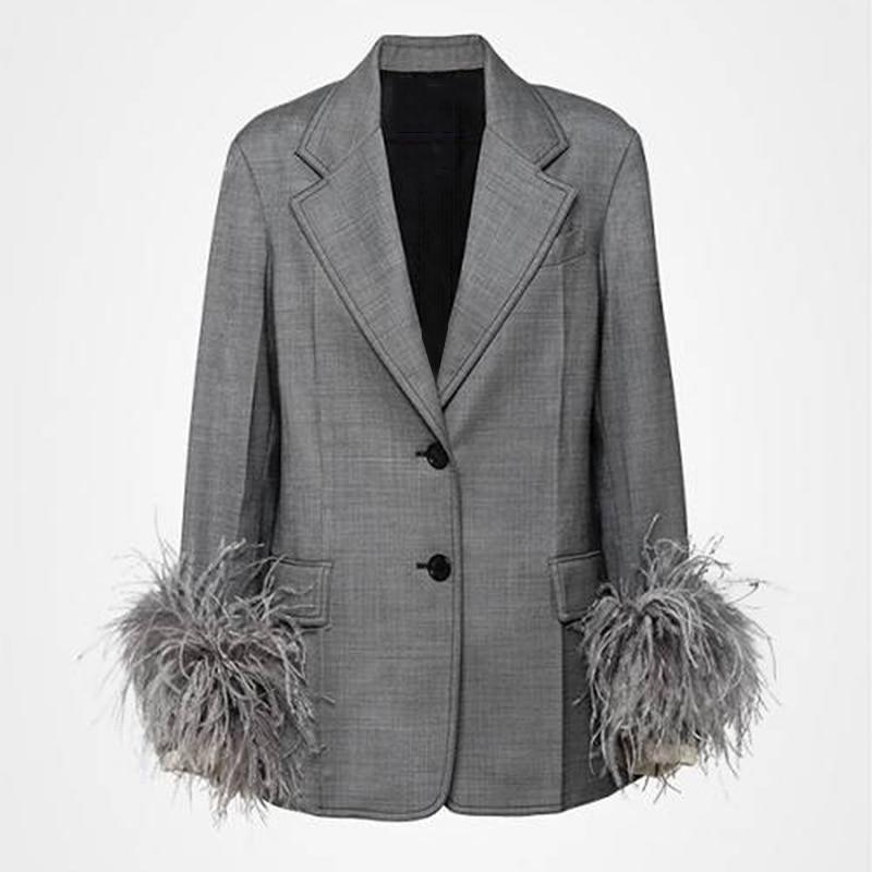 Ensemble Automne Ol Patchwork Deux Haute Suits Avec Plume Twotwinstyle Mode Suits Femmes Pantalon Manches Taille Black Manteau Pièces De Blazer Flare Vêtements gray qWpIWwT4zY