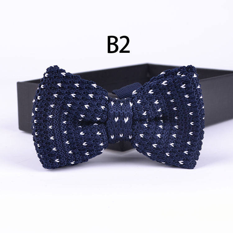 TOP Fashion Men Knitted Bowtie Wedding Party Knitting Bow Ties Blue With White Pattern