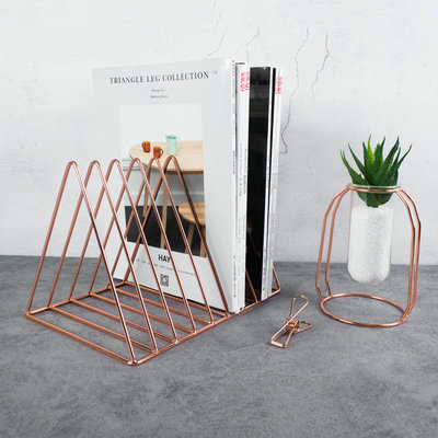 Creative Modern Book Holder Metal Book Shelf Rose Gold