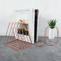 Creative Modern Book Holder Metal Book Shelf Rose Gold Office Organizer Desk Document Stand Magazine Holder Rack