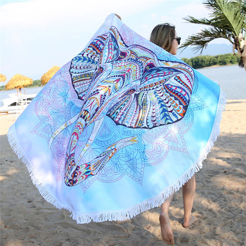 150cm Round Large Microfiber Fabric Beach Towel for Adult Kids Elephant Tassel Bath Towel Mandala Tapestry Blanket Picnic Mat