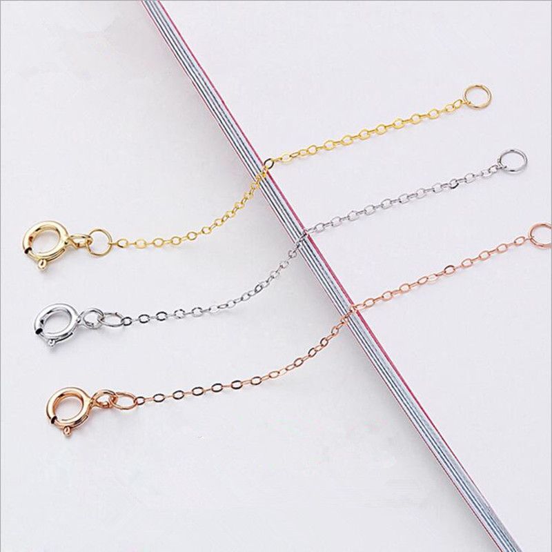 3cm 5cm 8cm Length 925 Sterling Silver Extended Chains With Lobster Clasps For DIY Necklace Extension Chain Jewelry Making Z1013