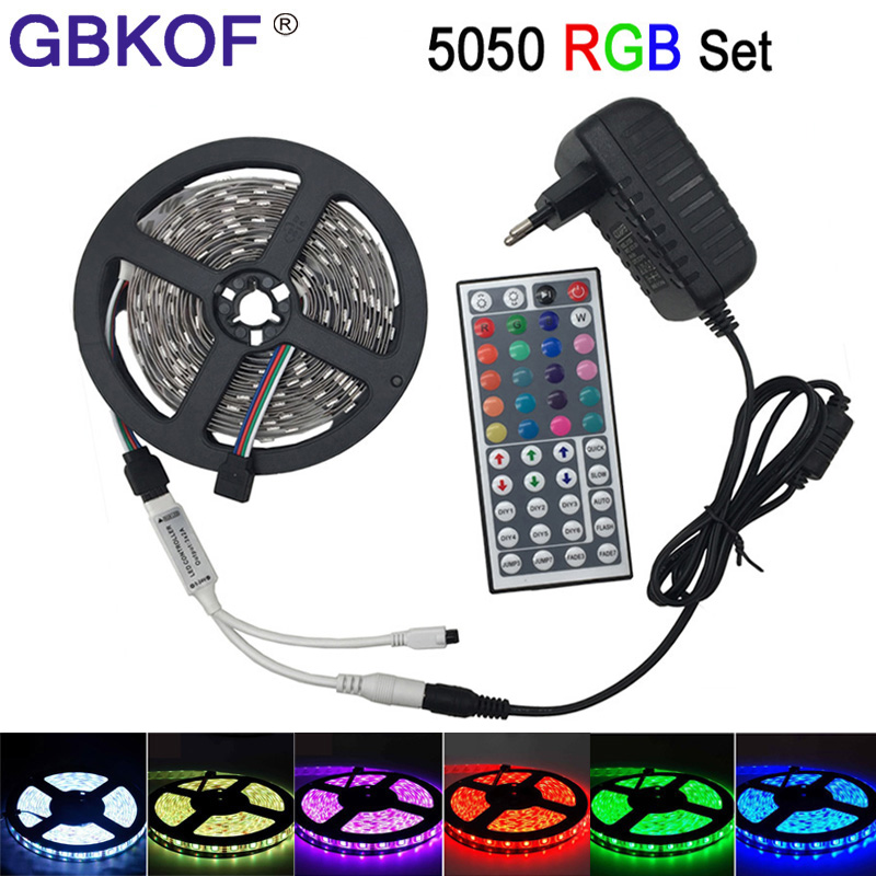 LED light non waterproof 5050 RGB led strip 5m 10m rgbw rgbww led tape diode ribbon lampada DC 12V+Remote Control+Power Adapter 10m 5m 3528 5050 rgb led strip light non waterproof led light 10m flexible rgb diode led tape set remote control power adapter