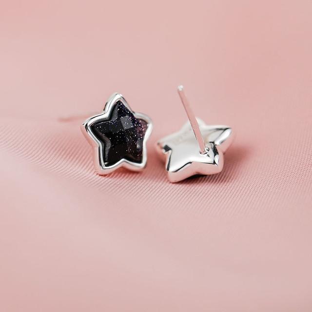 SA SILVERAGE 925 Silver Star Stud Earrings for Women Fine Jewelry Black Vintage 925 Sterling Silver Earrings Female