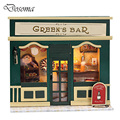 Kids DIY Doll House Mini-European Shop Green Bar Puzzle Wooden Toys 3D Miniature Dollhouse Wood Educational Toys Girl Gifts