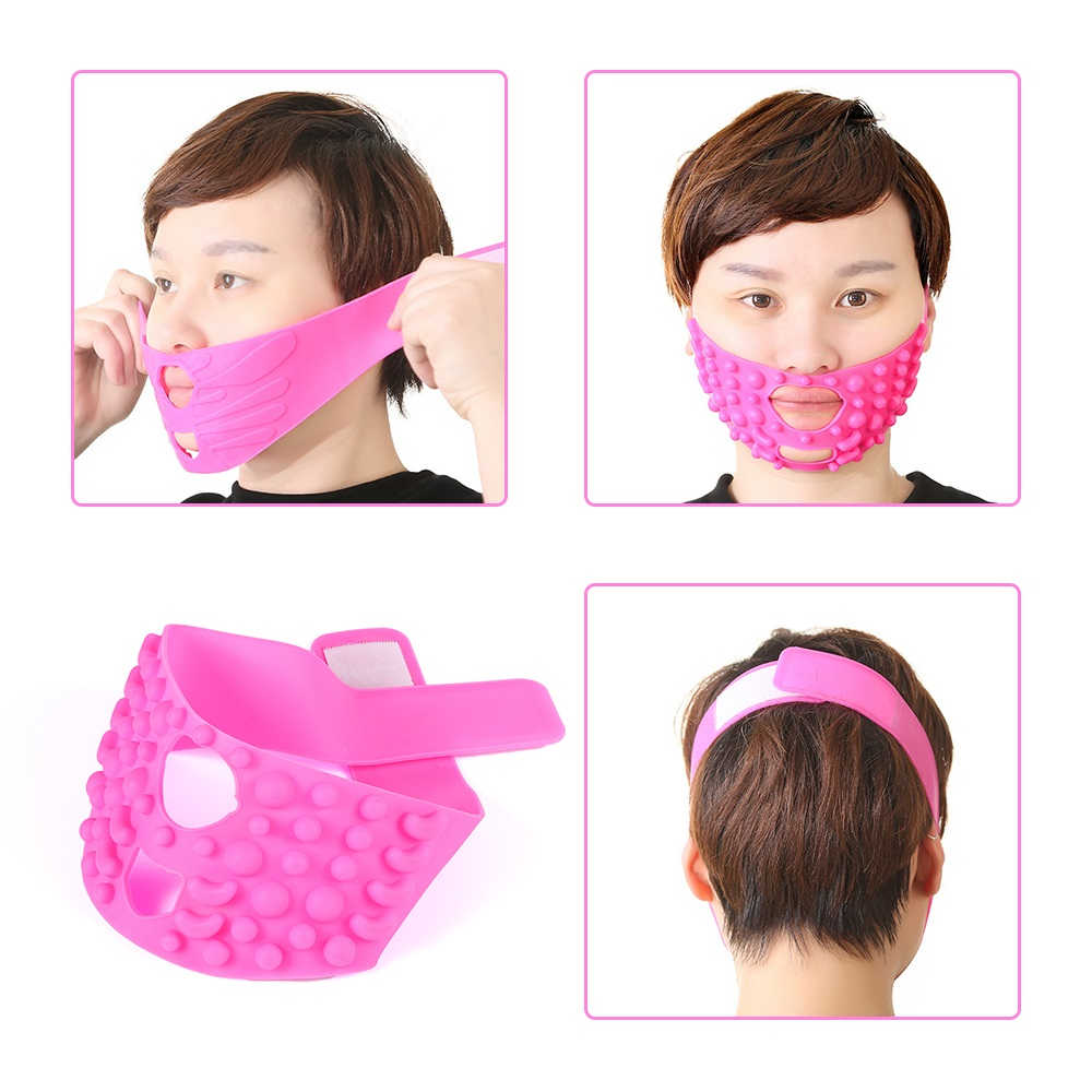 Pink Silicone Face Lift Mask Facial Slimming Bandage Chin Cheek Slimming Face Slimming Belt V Face Line For Women Face Care