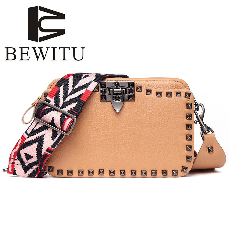 BEWITU Brand Handbags 2018 Fashion Leather Handbags Europe and The United States New Rivets Bag Leather Shoulder Messenger Bag the new winter handbags in europe and the tide crocodile grain female bag brand shell package one shoulder inclined shoulder bag