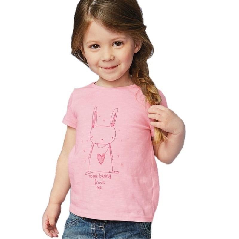 1-6 Jahre Mädchen T-shirt Kurzarm Tier Druck Kinder Tees Kaninchen Katze Druck Kinder Tops Kf046-1 Schnelle Farbe