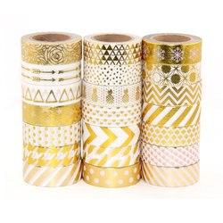 Alta qualidade da folha de ouro 10m fita de papel ponto, tira, abacaxi, coração natal decorativo washi fita 1pcs