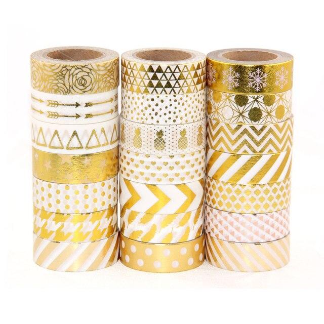 De alta calidad de la hoja de oro de 10 m de cinta de papel de punto de piña corazón decorativo de Navidad cinta de washi 1 piezas