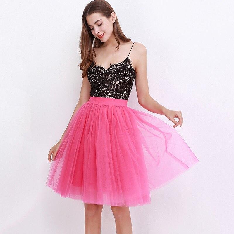 ea457033b8 7 capas Midi una línea Tutu tul falda de cintura alta falda faldas Vintage  Lolita vestido de verano de 2018. en saias jupe