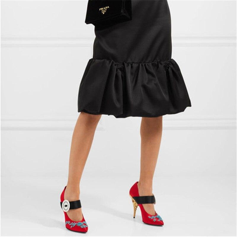 Diseño Altos Tacones Mujer Rebordear 2019 Jady Tacón Mary Boda Rosa Bombas rosado rojo Zapatos Vaqueros Negro Seda Sexy Nuevo De Las Vestido Mujeres azul O6AtAwq
