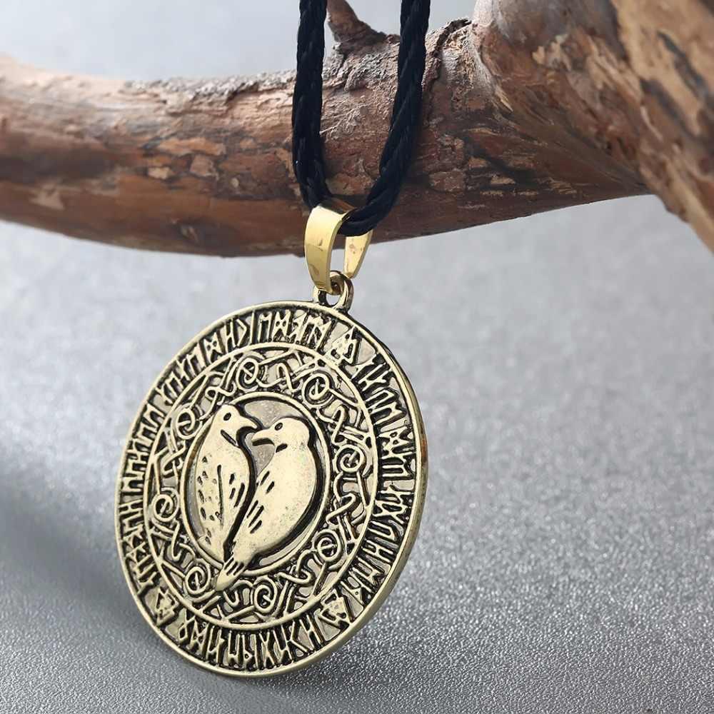 Kinitial Bắc Âu Người Viking Chim Mặt Dây Chuyền Đẹp, Mặt Dây Chuyền Nam Valknut Raven Rune Mặt Dây Chuyền Nơ Viking Bùa Hộ Mệnh Mặt Dây Chuyền Vòng Cổ Bắc Âu Trang Sức