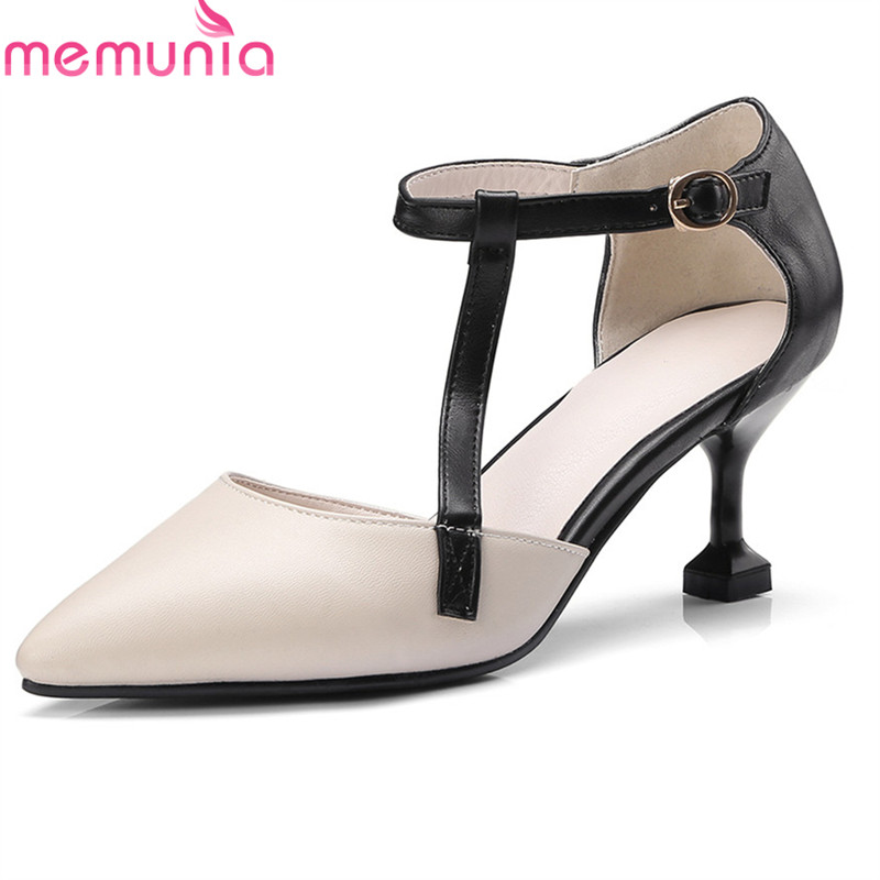 MEMUNIA  new arrive hot sale sexy comfortable shallow spring summer autumn pointed toe Stiletto high heels buckle shoes woman spring autumn shoes woman pointed toe metal buckle shallow 11 plus size thick heels shoes sexy career super high heel shoes