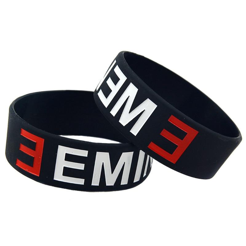 OBH 2PCS ein Zoll breites schwarzes Eminem Silikonkautschuk-Armband - Modeschmuck - Foto 2