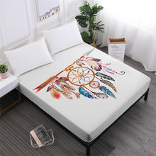 Bohemia Dream Catcher Bed Sheets Colorful Feather Print Fitted Sheet Soft Bedclothes Elastic Band Mattress Cover Home Decor D25