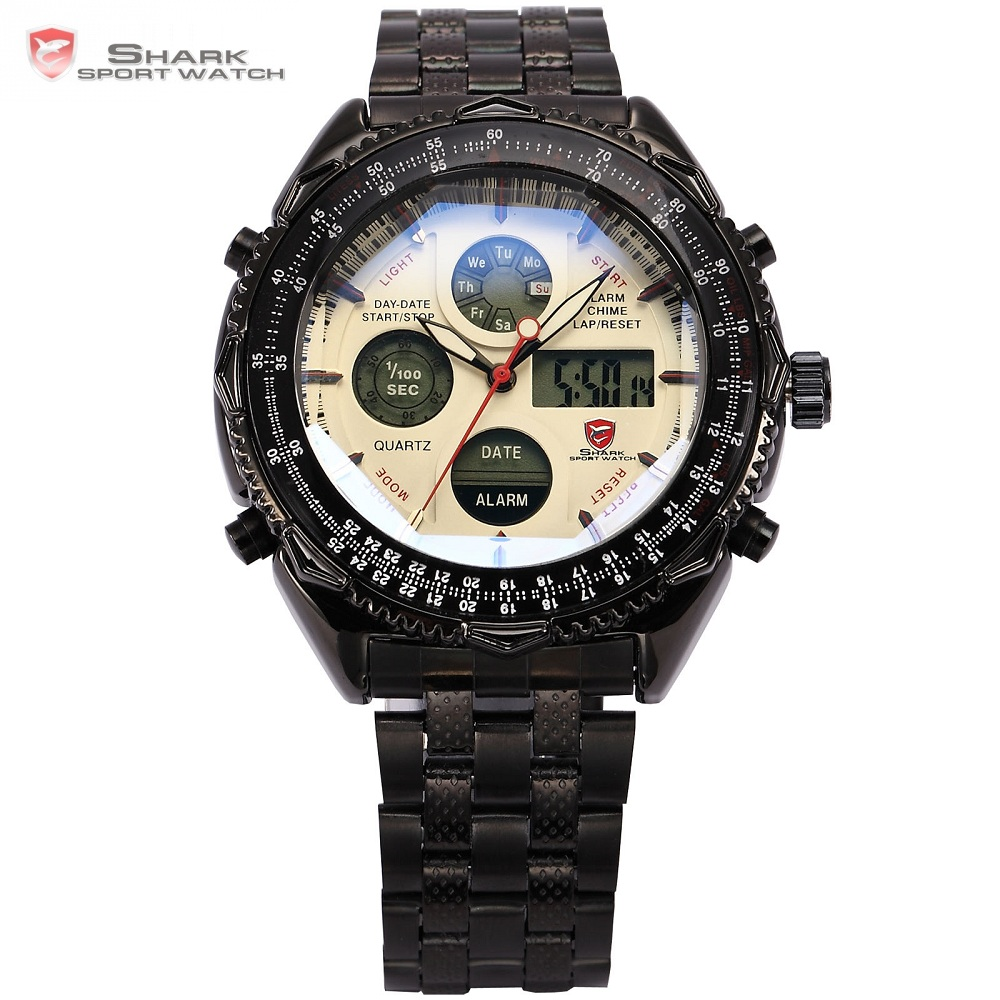 Eightgill Shark Sport Watch Dual Time Digital White Analog Black Stainless Steel Strap Chronograph Quartz Men