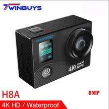 HAMTOD H8A 4K 30pfs WiFi Action Camera 2.0 inch LCD+0.66 inch Screen 1080P HD Diving Waterproof mini Camcorder Sports Cameras