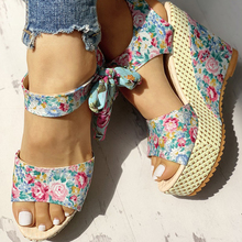 INS Hot Bohemian Style Lace Leisure Women Wedges Shoes 2019 Summer Sandals Party Platform High Heels Shoes Woman